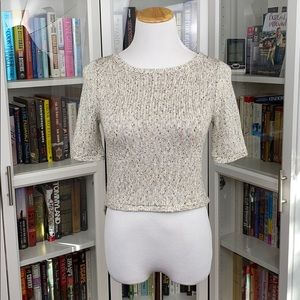 BCBGeneration Cream Split Back Hem w Tails Sweater
